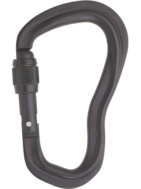 AustriAlpin Pirum GI Screwgate Carabiner with Visual Safety Band matte black anodized